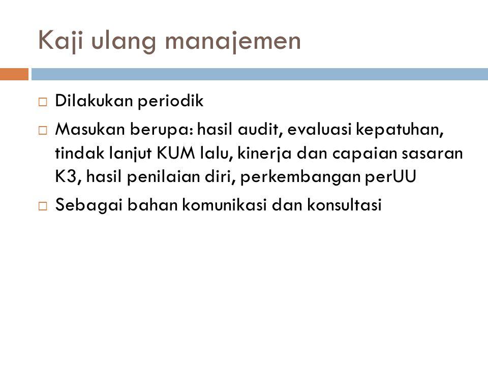 Kaji ulang manajemen  Dilakukan periodik  Masukan berupa: hasil audit, evaluasi kepatuhan, tindak lanjut KUM lalu, kinerja dan capaian sasaran K3, h