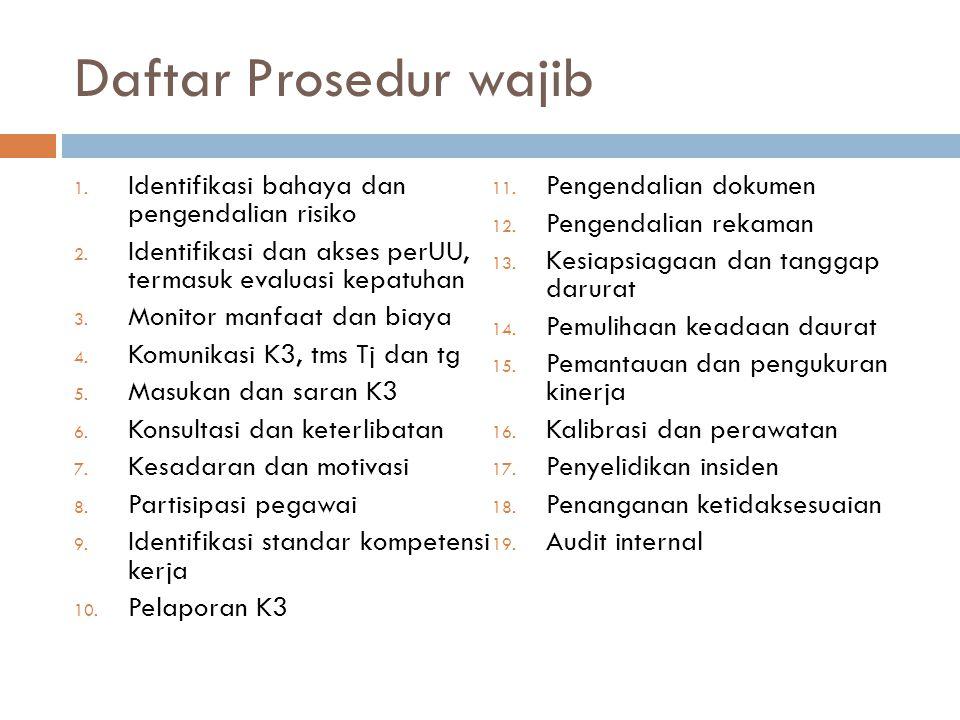 Daftar Prosedur wajib 1. Identifikasi bahaya dan pengendalian risiko 2. Identifikasi dan akses perUU, termasuk evaluasi kepatuhan 3. Monitor manfaat d