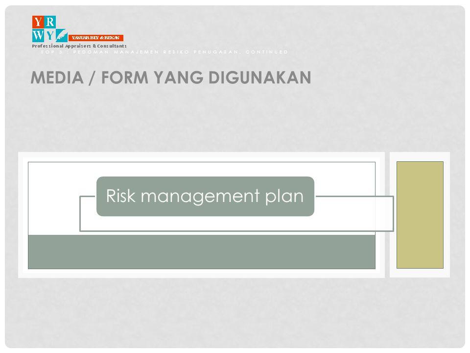 SOP 3 : PEDOMAN MANAJEMEN RESIKO PENUGASAN, CONTINUED MEDIA / FORM YANG DIGUNAKAN Risk management plan