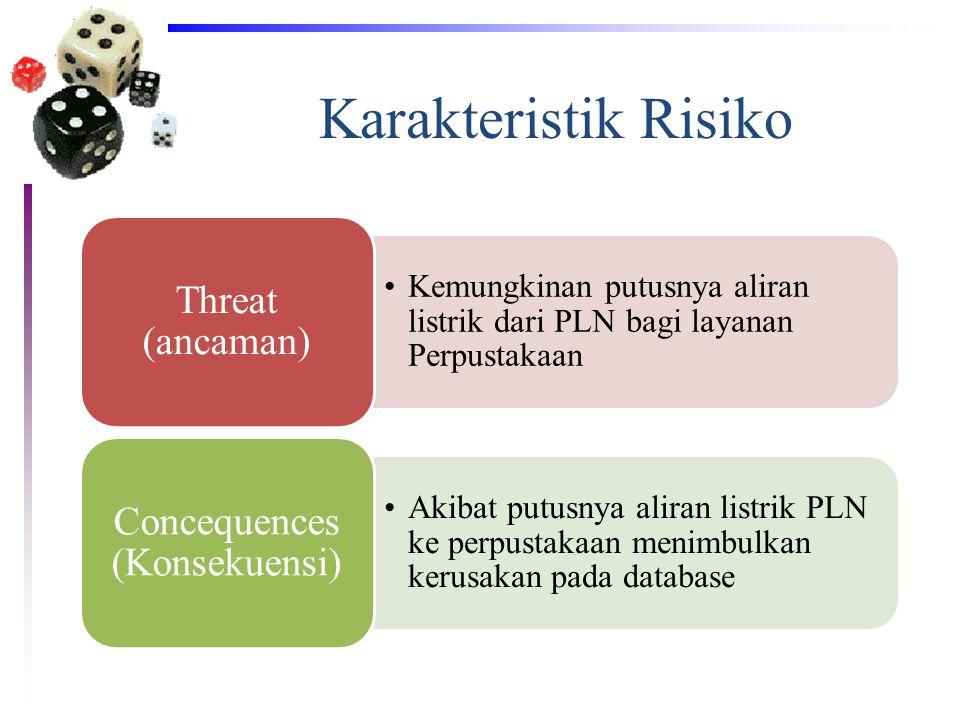 Karakteristik Risiko •Kemungkinan putusnya aliran listrik dari PLN bagi layanan Perpustakaan Threat (ancaman) •Akibat putusnya aliran listrik PLN ke p