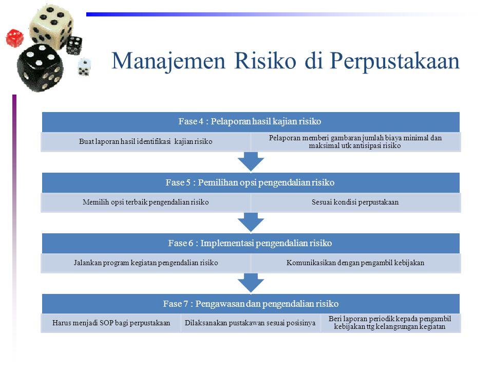 Manajemen Risiko di Perpustakaan Fase 7 : Pengawasan dan pengendalian risiko Harus menjadi SOP bagi perpustakaanDilaksanakan pustakawan sesuai posisin