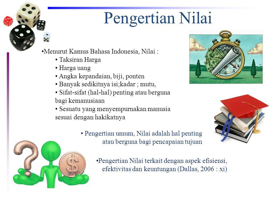Pengertian Nilai • Menurut Kamus Bahasa Indonesia, Nilai : • Taksiran Harga • Harga uang • Angka kepandaian, biji, ponten • Banyak sedikitnya isi;kada