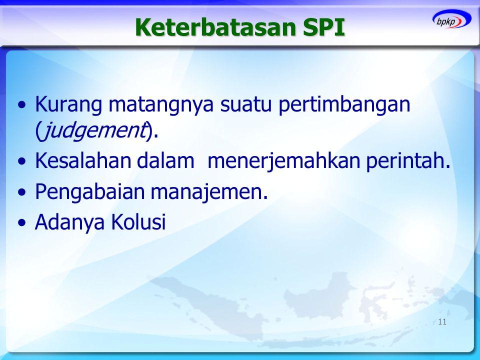 Keterbatasan SPI •Kurang matangnya suatu pertimbangan (judgement). •Kesalahan dalam menerjemahkan perintah. •Pengabaian manajemen. •Adanya Kolusi 11