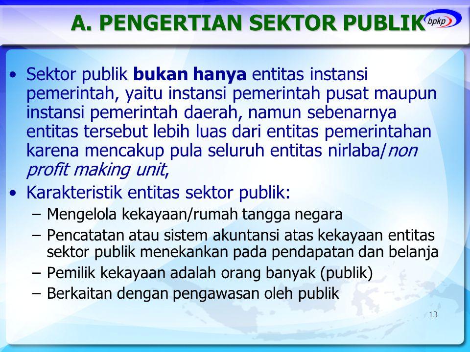 A. PENGERTIAN SEKTOR PUBLIK •Sektor publik bukan hanya entitas instansi pemerintah, yaitu instansi pemerintah pusat maupun instansi pemerintah daerah,
