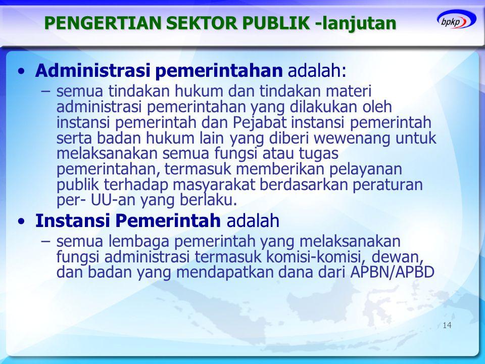 PENGERTIAN SEKTOR PUBLIK -lanjutan •Administrasi pemerintahan adalah: –semua tindakan hukum dan tindakan materi administrasi pemerintahan yang dilakuk