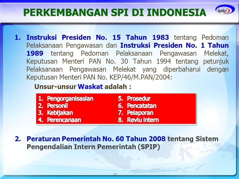 PERKEMBANGAN SPI DI INDONESIA 1.Instruksi Presiden No. 15 Tahun 1983 tentang Pedoman Pelaksanaan Pengawasan dan Instruksi Presiden No. 1 Tahun 1989 te