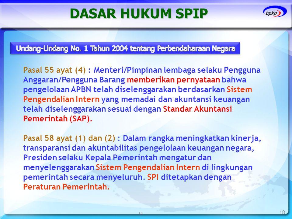 18 DASAR HUKUM SPIP 18 Pasal 55 ayat (4) : Menteri/Pimpinan lembaga selaku Pengguna Anggaran/Pengguna Barang memberikan pernyataan bahwa pengelolaan A