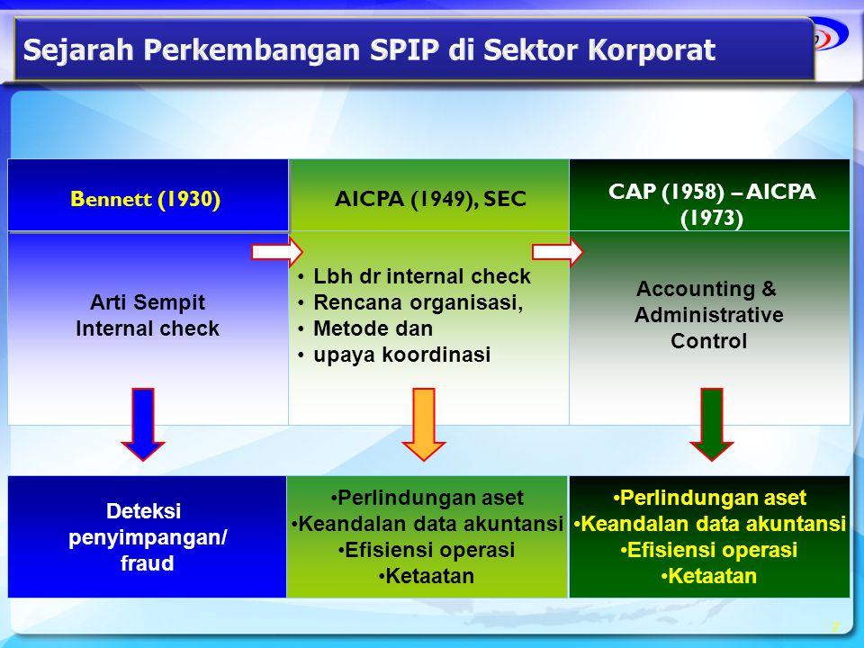 Accounting & Administrative Control •Lbh dr internal check •Rencana organisasi, •Metode dan •upaya koordinasi Arti Sempit Internal check 7 AICPA (1949