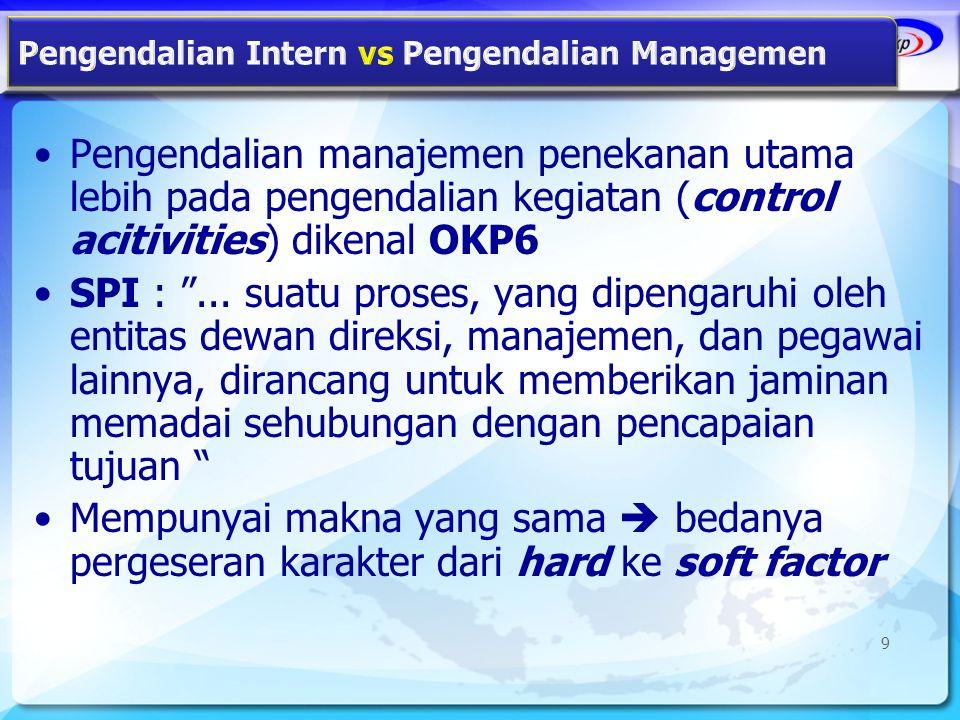 "•Pengendalian manajemen penekanan utama lebih pada pengendalian kegiatan (control acitivities) dikenal OKP6 •SPI : ""... suatu proses, yang dipengaruhi"