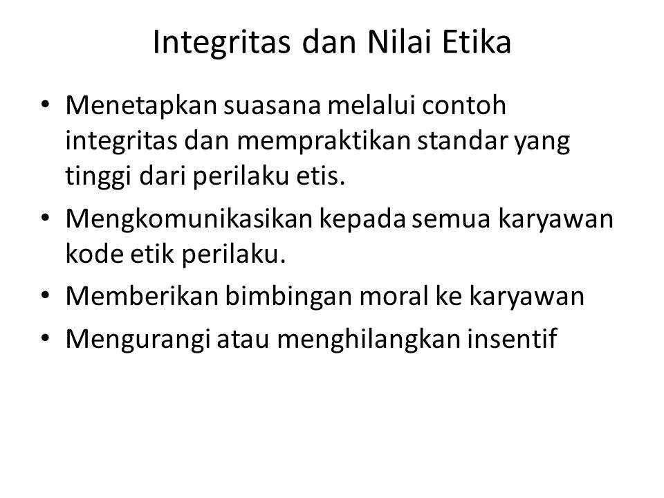 Integritas dan Nilai Etika • Menetapkan suasana melalui contoh integritas dan mempraktikan standar yang tinggi dari perilaku etis. • Mengkomunikasikan