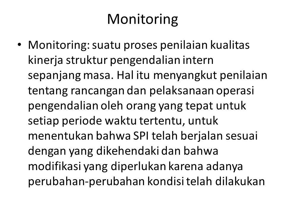 Monitoring • Monitoring: suatu proses penilaian kualitas kinerja struktur pengendalian intern sepanjang masa. Hal itu menyangkut penilaian tentang ran