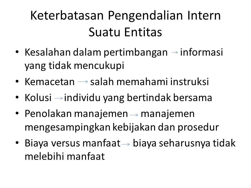 Keterbatasan Pengendalian Intern Suatu Entitas • Kesalahan dalam pertimbangan informasi yang tidak mencukupi • Kemacetan salah memahami instruksi • Ko