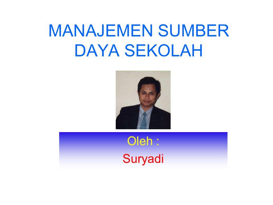 MANAJEMEN SUMBER DAYA SEKOLAH Oleh : Suryadi