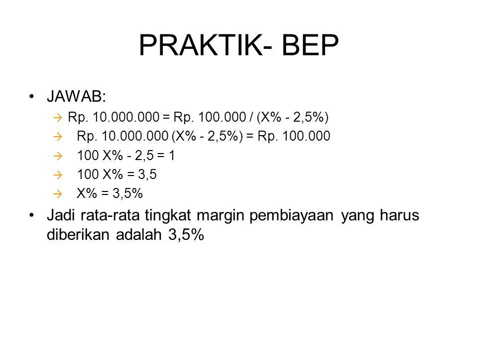 PRAKTIK- BEP •JAWAB:  Rp. 10.000.000 = Rp. 100.000 / (X% - 2,5%)  Rp. 10.000.000 (X% - 2,5%) = Rp. 100.000  100 X% - 2,5 = 1  100 X% = 3,5  X% =