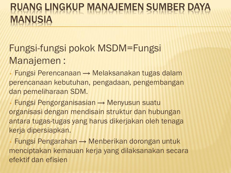 Fungsi-fungsi pokok MSDM=Fungsi Manajemen : • Fungsi Perencanaan → Melaksanakan tugas dalam perencanaan kebutuhan, pengadaan, pengembangan dan pemelih