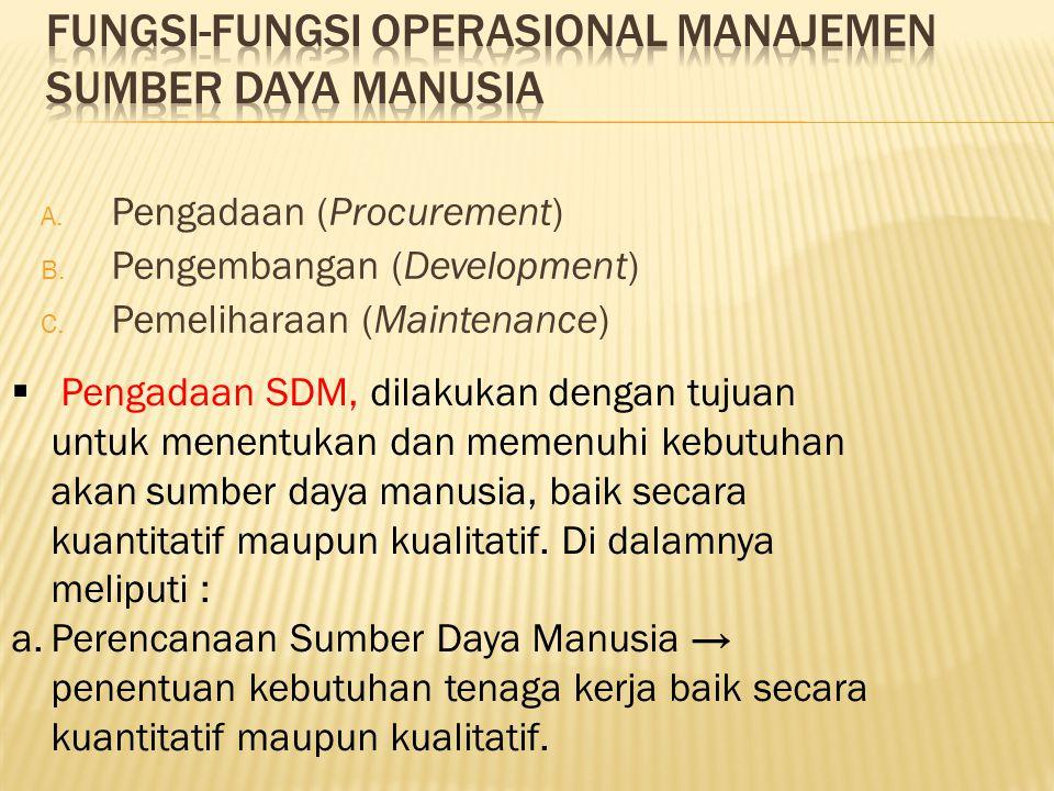 A. Pengadaan (Procurement) B. Pengembangan (Development) C. Pemeliharaan (Maintenance)  Pengadaan SDM, dilakukan dengan tujuan untuk menentukan dan m