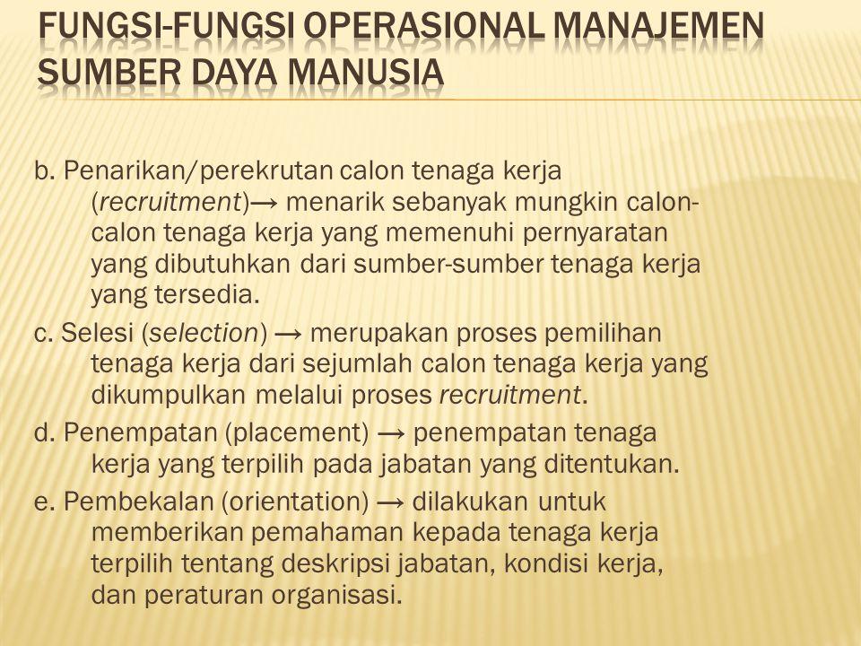b. Penarikan/perekrutan calon tenaga kerja (recruitment)→ menarik sebanyak mungkin calon- calon tenaga kerja yang memenuhi pernyaratan yang dibutuhkan