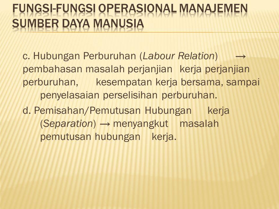c. Hubungan Perburuhan (Labour Relation) → pembahasan masalah perjanjian kerja perjanjian perburuhan, kesempatan kerja bersama, sampai penyelasaian pe