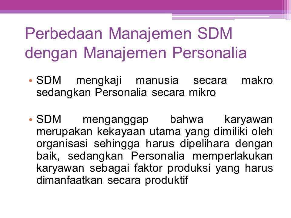 Perbedaan Manajemen SDM dengan Manajemen Personalia • SDM mengkaji manusia secara makro sedangkan Personalia secara mikro • SDM menganggap bahwa karya