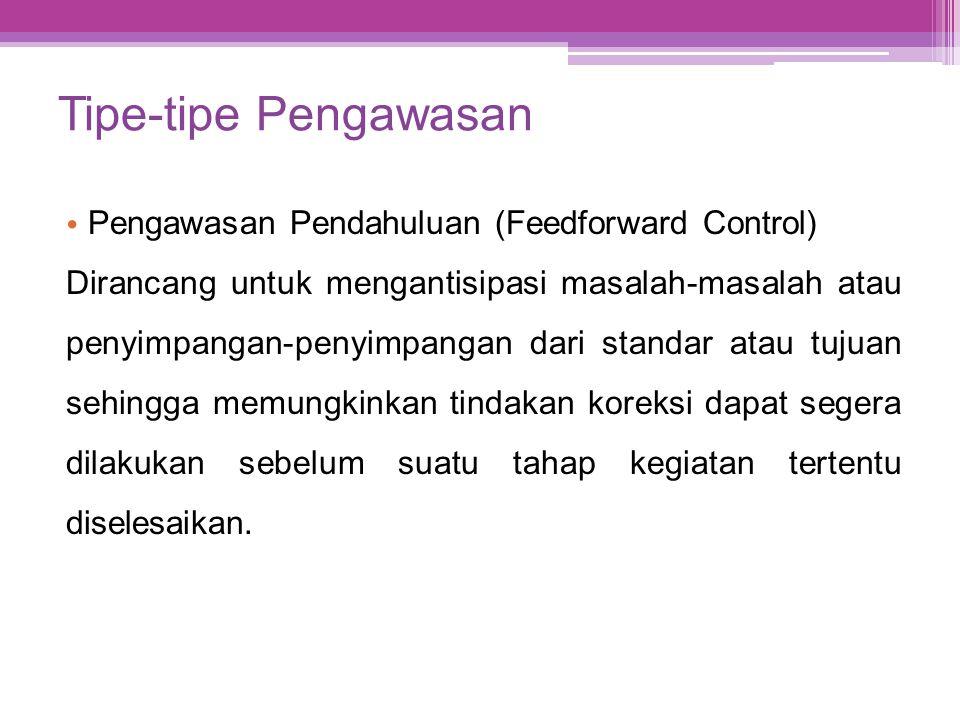 Tipe-tipe Pengawasan • Pengawasan Pendahuluan (Feedforward Control) Dirancang untuk mengantisipasi masalah-masalah atau penyimpangan-penyimpangan dari