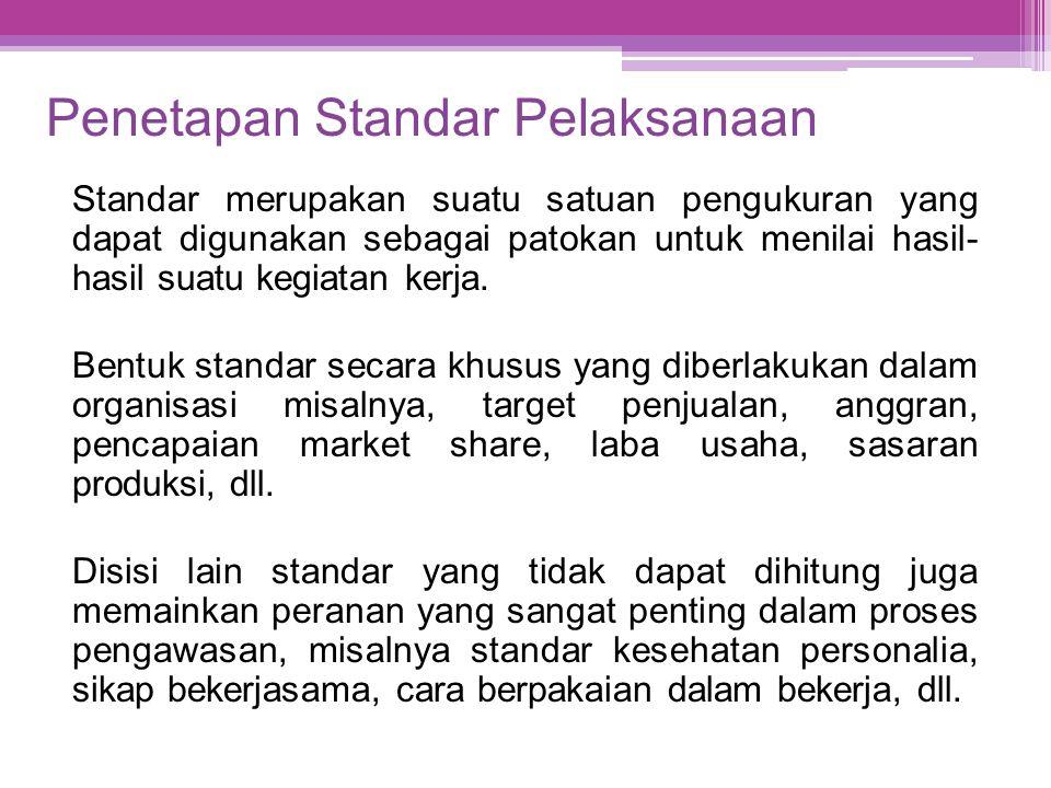 Penetapan Standar Pelaksanaan Standar merupakan suatu satuan pengukuran yang dapat digunakan sebagai patokan untuk menilai hasil- hasil suatu kegiatan