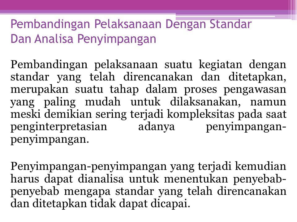 Pembandingan Pelaksanaan Dengan Standar Dan Analisa Penyimpangan Pembandingan pelaksanaan suatu kegiatan dengan standar yang telah direncanakan dan di