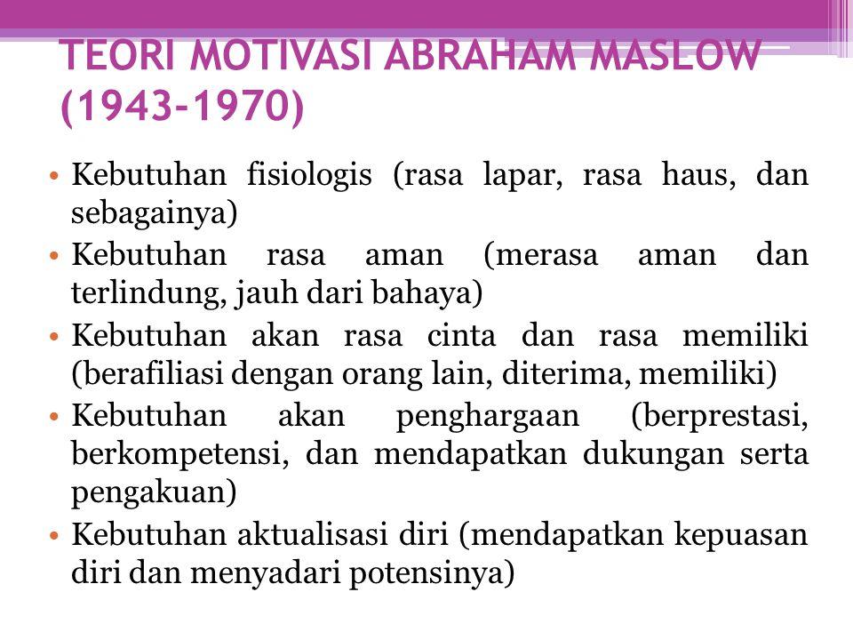 TEORI MOTIVASI ABRAHAM MASLOW (1943-1970) •Kebutuhan fisiologis (rasa lapar, rasa haus, dan sebagainya) •Kebutuhan rasa aman (merasa aman dan terlindu