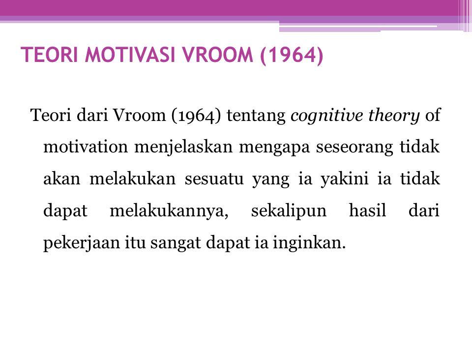 TEORI MOTIVASI VROOM (1964) Teori dari Vroom (1964) tentang cognitive theory of motivation menjelaskan mengapa seseorang tidak akan melakukan sesuatu