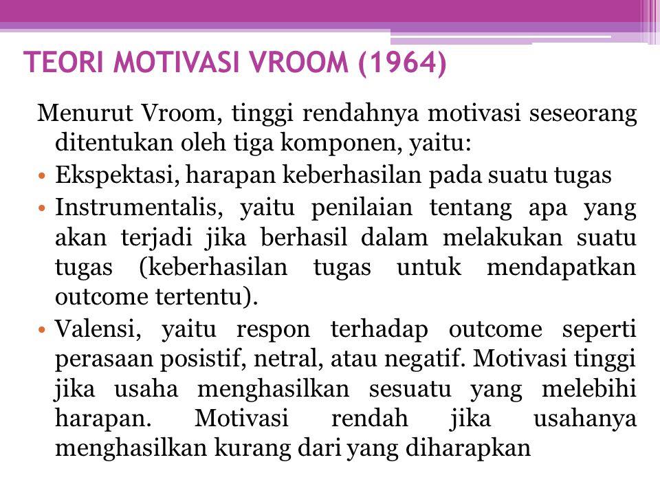 Menurut Vroom, tinggi rendahnya motivasi seseorang ditentukan oleh tiga komponen, yaitu: •Ekspektasi, harapan keberhasilan pada suatu tugas •Instrumen