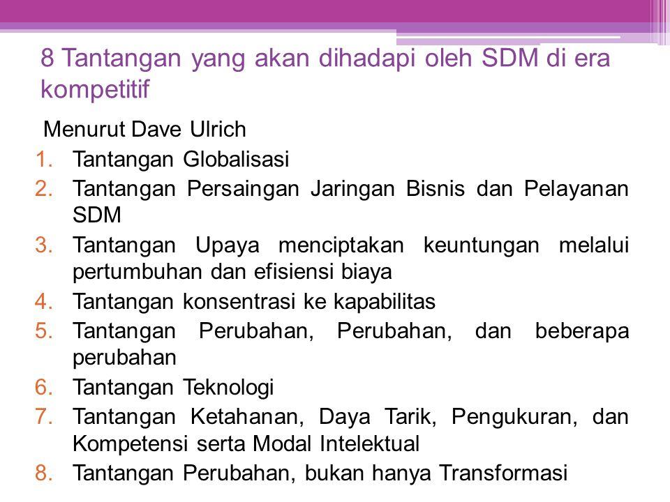 8 Tantangan yang akan dihadapi oleh SDM di era kompetitif Menurut Dave Ulrich 1.Tantangan Globalisasi 2.Tantangan Persaingan Jaringan Bisnis dan Pelay