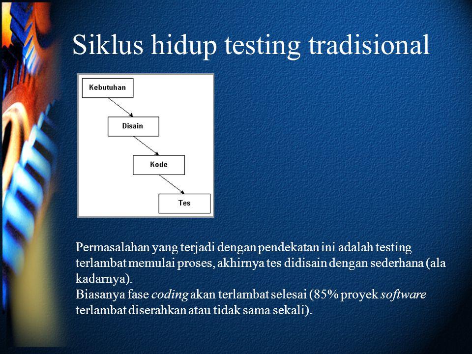 Siklus hidup testing tradisional Permasalahan yang terjadi dengan pendekatan ini adalah testing terlambat memulai proses, akhirnya tes didisain dengan sederhana (ala kadarnya).
