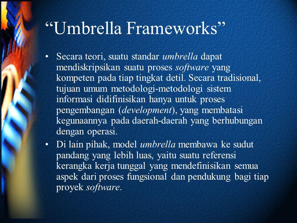 Umbrella Frameworks •Secara teori, suatu standar umbrella dapat mendiskripsikan suatu proses software yang kompeten pada tiap tingkat detil.
