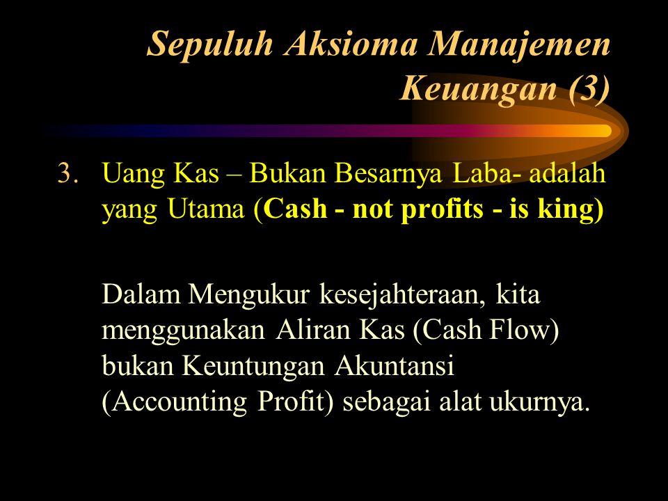 Sepuluh Aksioma Manajemen Keuangan (3) 3.Uang Kas – Bukan Besarnya Laba- adalah yang Utama (Cash - not profits - is king) Dalam Mengukur kesejahteraan