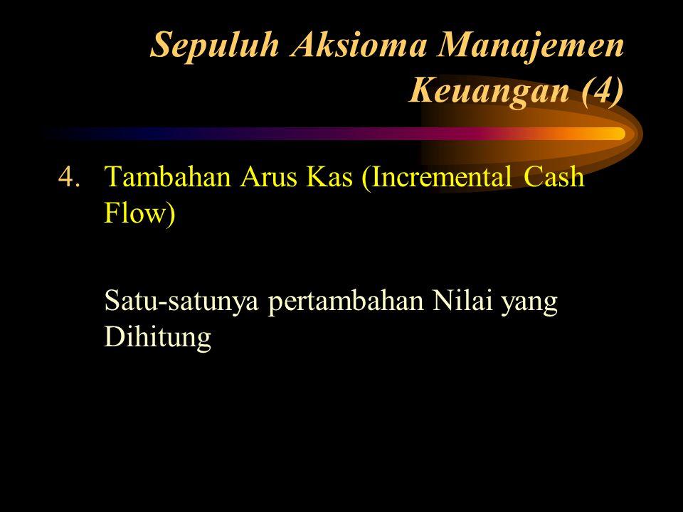 Sepuluh Aksioma Manajemen Keuangan (4) 4.Tambahan Arus Kas (Incremental Cash Flow) Satu-satunya pertambahan Nilai yang Dihitung