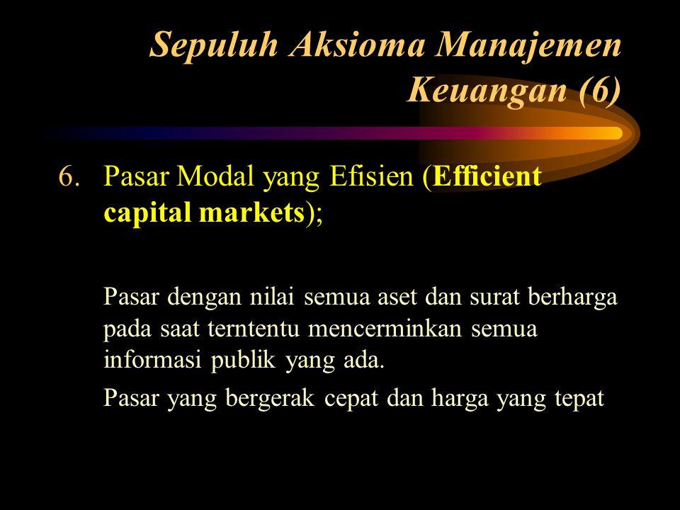 Sepuluh Aksioma Manajemen Keuangan (6) 6.Pasar Modal yang Efisien (Efficient capital markets); Pasar dengan nilai semua aset dan surat berharga pada s
