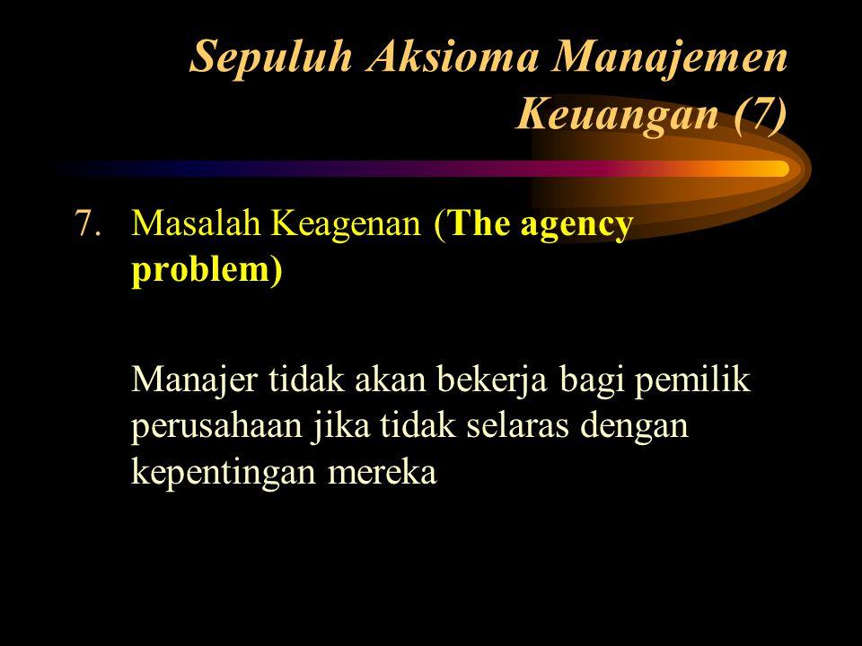 Sepuluh Aksioma Manajemen Keuangan (7) 7.Masalah Keagenan (The agency problem) Manajer tidak akan bekerja bagi pemilik perusahaan jika tidak selaras d