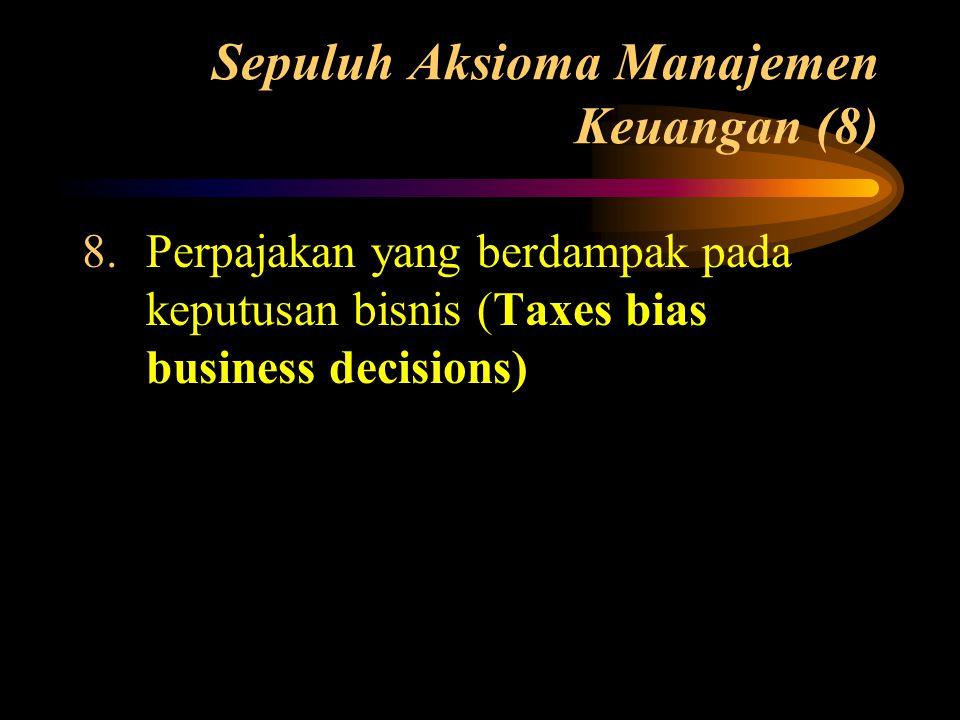 Sepuluh Aksioma Manajemen Keuangan (8) 8.Perpajakan yang berdampak pada keputusan bisnis (Taxes bias business decisions)