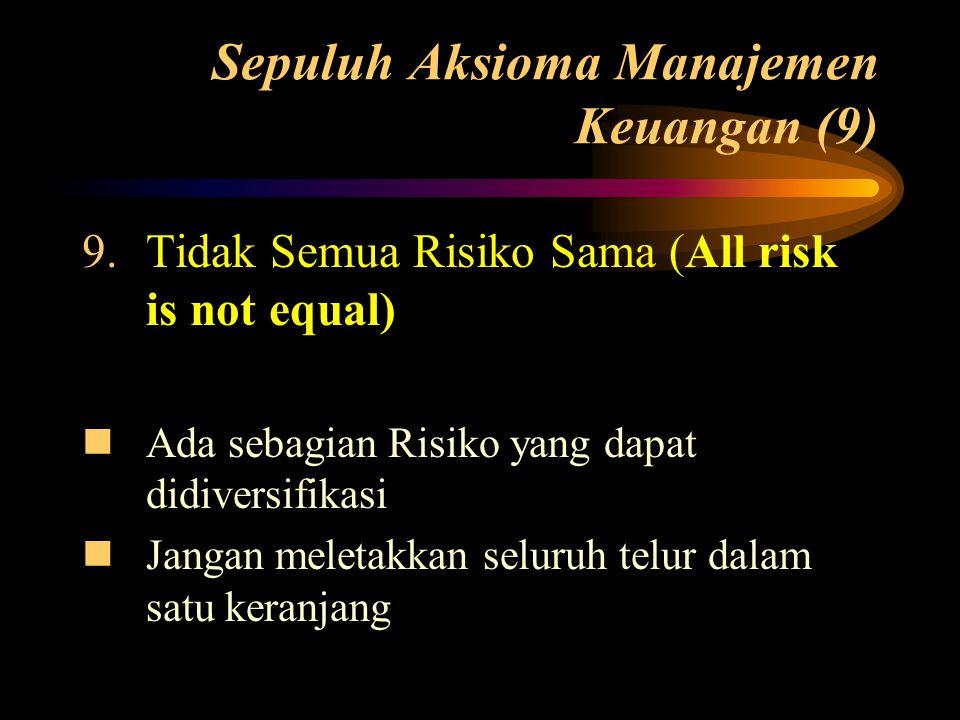 Sepuluh Aksioma Manajemen Keuangan (9) 9.Tidak Semua Risiko Sama (All risk is not equal)  Ada sebagian Risiko yang dapat didiversifikasi  Jangan mel