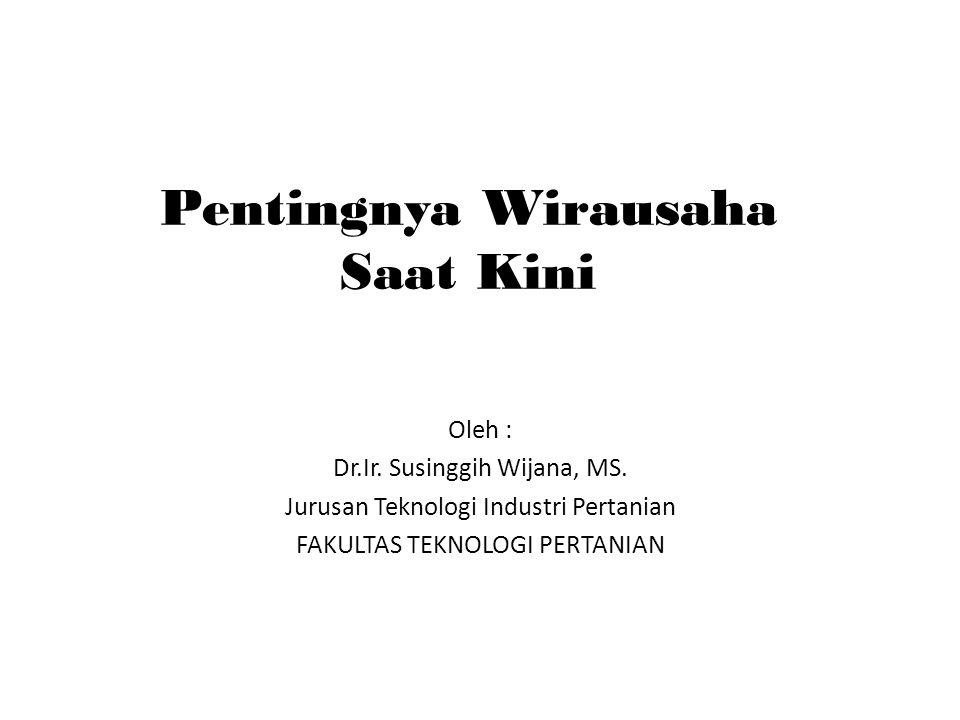 Pentingnya Wirausaha Saat Kini Oleh : Dr.Ir.Susinggih Wijana, MS.