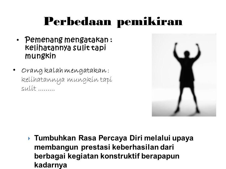 Perbedaan pemikiran • Orang kalah mengatakan : kelihatannya mungkin tapi sulit.........