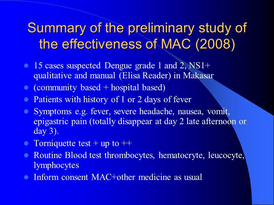 Summary of the preliminary study of the effectiveness of MAC (2008)  15 cases suspected Dengue grade 1 and 2, NS1+ qualitative and manual (Elisa Read