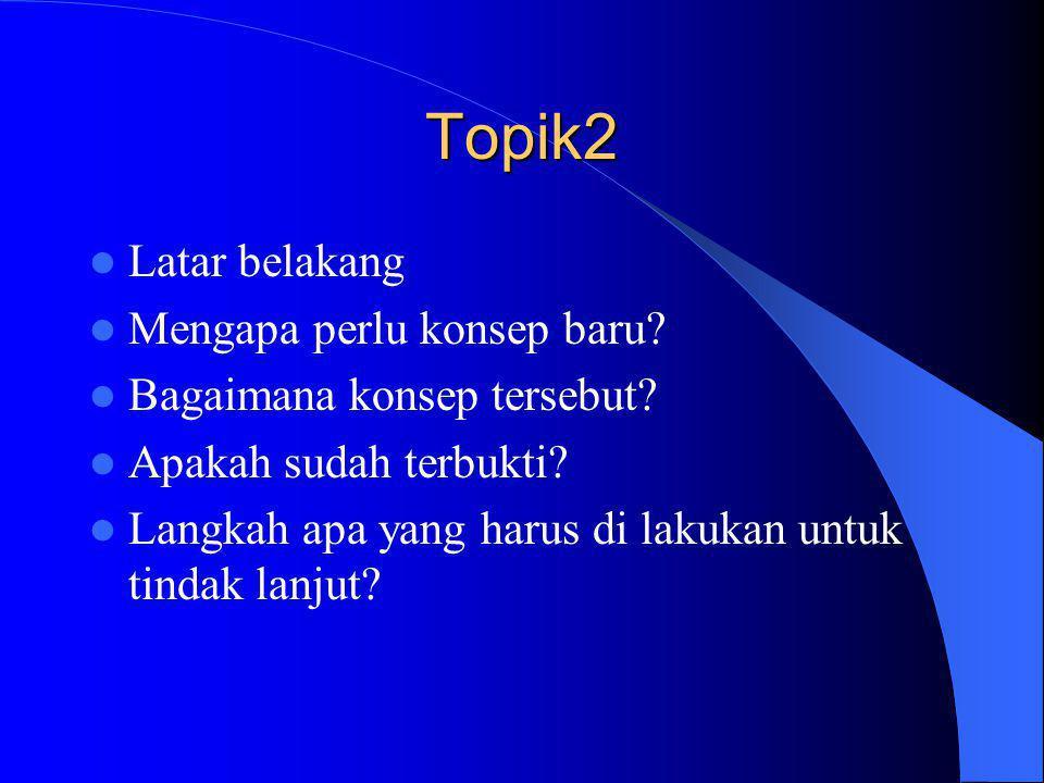 Topik2  Latar belakang  Mengapa perlu konsep baru?  Bagaimana konsep tersebut?  Apakah sudah terbukti?  Langkah apa yang harus di lakukan untuk t