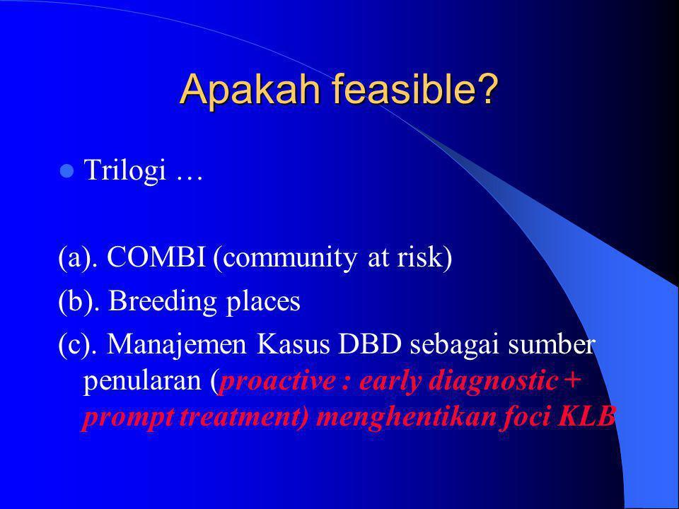 Apakah feasible?  Trilogi … (a). COMBI (community at risk) (b). Breeding places (c). Manajemen Kasus DBD sebagai sumber penularan (proactive : early