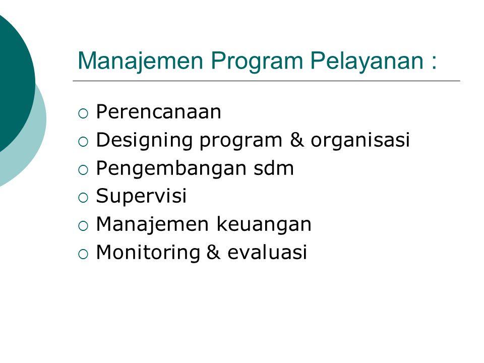 Manajemen Program Pelayanan :  Perencanaan  Designing program & organisasi  Pengembangan sdm  Supervisi  Manajemen keuangan  Monitoring & evalua
