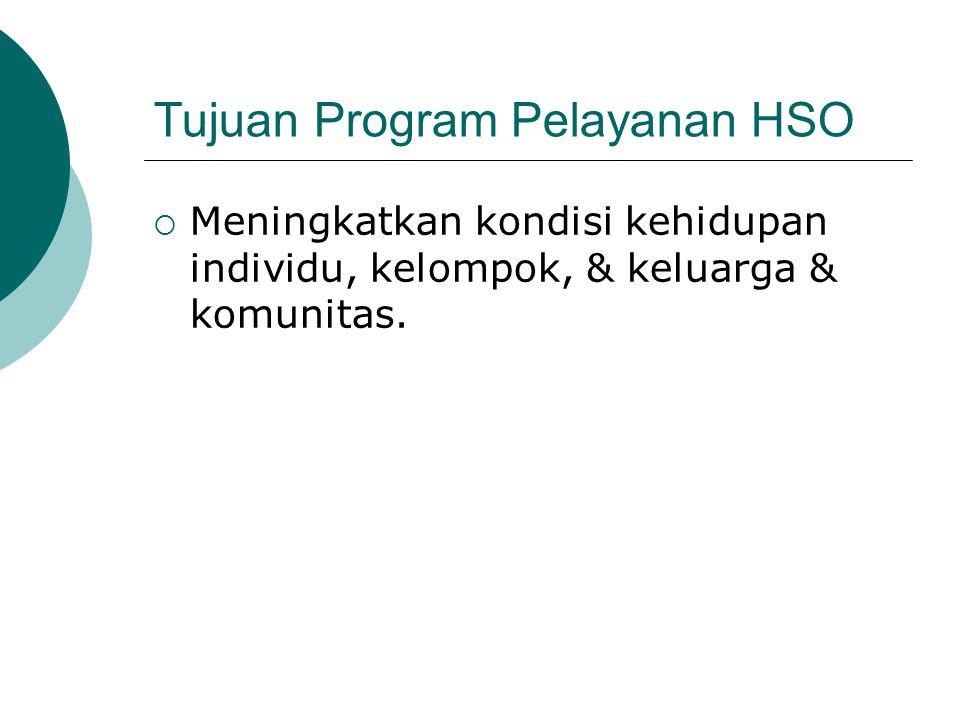 Tujuan Program Pelayanan HSO  Meningkatkan kondisi kehidupan individu, kelompok, & keluarga & komunitas.