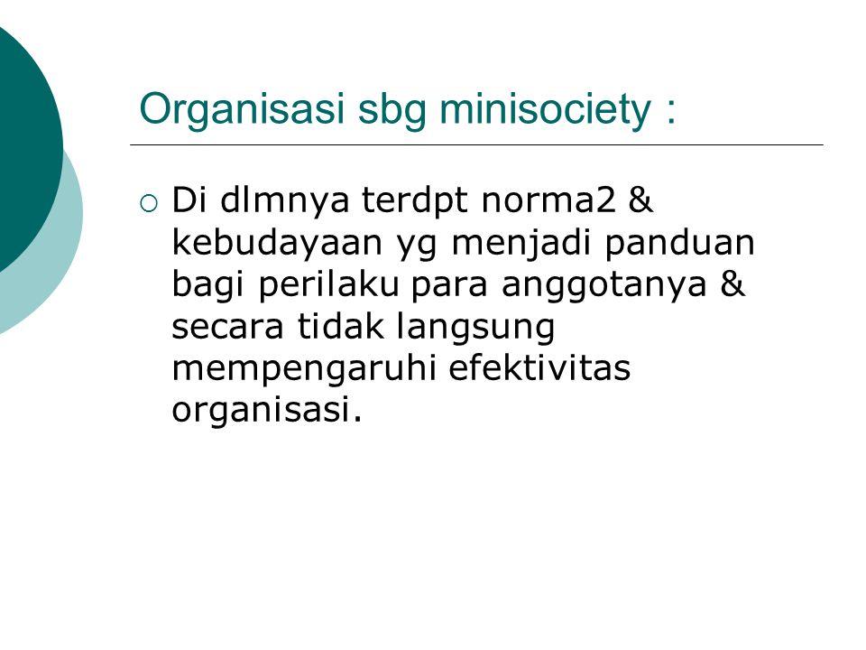 Organisasi sbg minisociety :  Di dlmnya terdpt norma2 & kebudayaan yg menjadi panduan bagi perilaku para anggotanya & secara tidak langsung mempengar