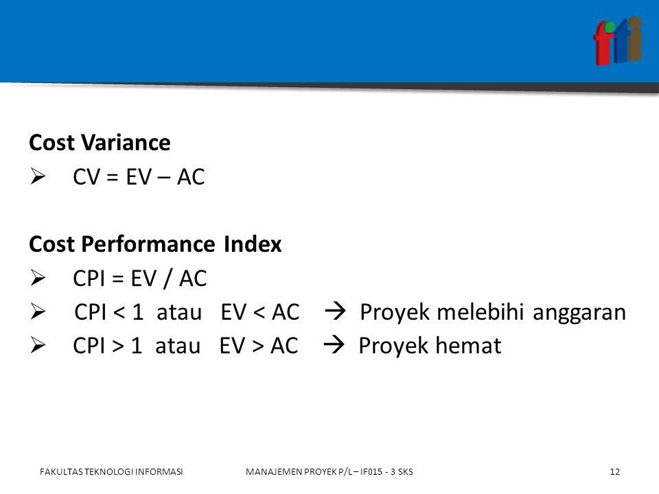 Cost Variance  CV = EV – AC Cost Performance Index  CPI = EV / AC  CPI < 1 atau EV < AC  Proyek melebihi anggaran  CPI > 1 atau EV > AC  Proyek hemat FAKULTAS TEKNOLOGI INFORMASIMANAJEMEN PROYEK P/L – IF015 - 3 SKS12