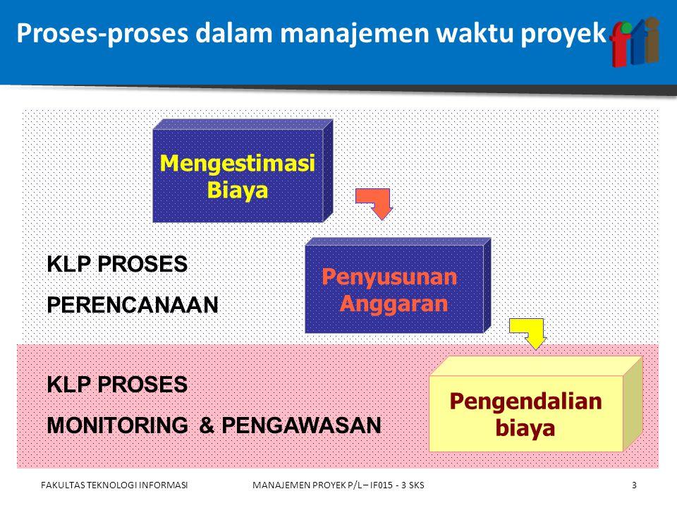 Proses-proses dalam manajemen waktu proyek FAKULTAS TEKNOLOGI INFORMASIMANAJEMEN PROYEK P/L – IF015 - 3 SKS Penyusunan Anggaran Mengestimasi Biaya Pengendalian biaya KLP PROSES MONITORING & PENGAWASAN KLP PROSES PERENCANAAN 3