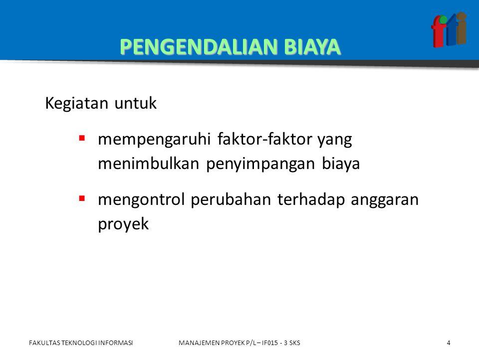 FAKULTAS TEKNOLOGI INFORMASIMANAJEMEN PROYEK P/L – IF015 - 3 SKS AC=ACWPEV=BCWP a : PROYEK BERJALAN LEBIH MAHAL b : PROYEK BERJALAN LEBIH MURAH (EFISIEN) ab Rp WAKTU EV=BCWP =EARNED VALUE AC=ACWP =ACTUAL COST 15