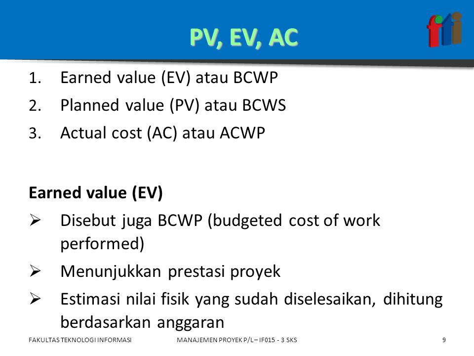 Planned value (PV)  Disebut juga BCWS (budgeted cost of work scheduled)  Anggaran  Bagian dari biaya total yang disediakan untuk melaksanakan suatu kegiatan dalam jangka waktu yang ditentukan FAKULTAS TEKNOLOGI INFORMASIMANAJEMEN PROYEK P/L – IF015 - 3 SKS10